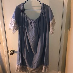 Denim dress with lace